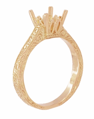 Art Deco 1 - 1.50 Carat Crown Scrolls Filigree Engagement Ring Setting in 14 Karat Rose Gold - Item R199PRR1 - Image 3