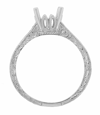 Art Deco 1 - 1.50 Carat Crown Scrolls Filigree Engagement Ring Setting in 18 Karat White Gold - Item R199PRW1 - Image 4