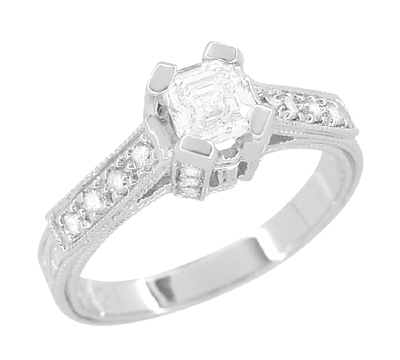 Art Deco 1/2 Carat Asscher Cut Diamond Engagement Ring in 18 Karat White Gold | Vintage Style Heirloom
