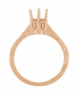 Art Deco 1/2 Carat Crown Filigree Scrolls Engagement Ring Setting in 14 Karat Rose Gold - Item R199R50 - Image 1