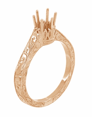 Art Deco 1/2 Carat Crown Filigree Scrolls Engagement Ring Setting in 14 Karat Rose Gold - Item R199R50 - Image 3