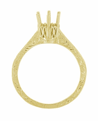 Art Deco 1/2 Carat Crown Filigree Scrolls Engagement Ring Setting in 18 Karat Yellow Gold - Item R199Y50 - Image 1