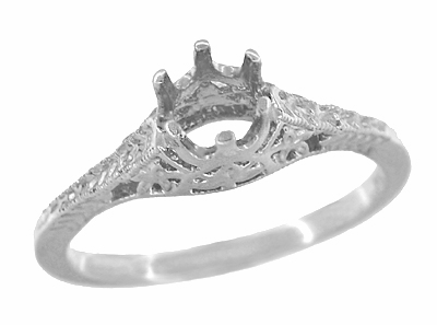 Art Deco 1/2 Carat Crown of Leaves Filigree Engagement Ring Setting in 18 Karat White Gold - Item R299W50 - Image 2