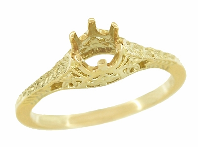 Art Deco 1/2 Carat Crown of Leaves Filigree Engagement Ring Setting in 18 Karat Yellow Gold - Item R299Y50 - Image 2