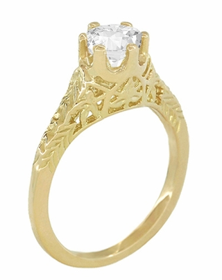 Art Deco 1/2 Carat Crown of Leaves Filigree Solitaire Diamond Engagement Ring in 18 Karat Yellow Gold - Item R299Y50D - Image 1