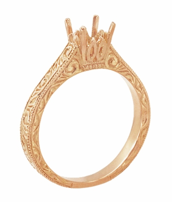 Art Deco 1/2 Carat Crown Scrolls Filigree Engagement Ring Setting in 14 Karat Rose Gold - Item R199PRR50 - Image 3