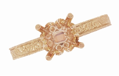 Art Deco 1/2 Carat Crown Scrolls Filigree Engagement Ring Setting in 14 Karat Rose Gold - Item R199PRR50 - Image 5