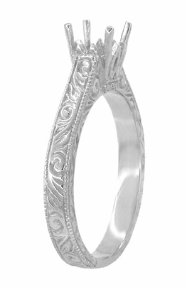 Art Deco 1/2 Carat Crown Scrolls Filigree Engagement Ring Setting in 18 Karat White Gold - Item R199PRW50 - Image 2
