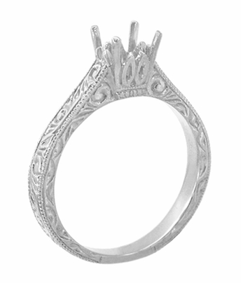 Art Deco 1/2 Carat Crown Scrolls Filigree Engagement Ring Setting in 18 Karat White Gold - Item R199PRW50 - Image 3