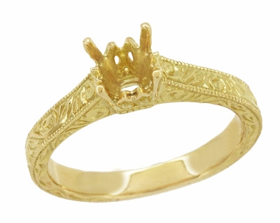 Art Deco 1/2 Carat Crown Scrolls Filigree Engagement Ring Setting in 18 Karat Yellow Gold - Item R199PRY50 - Image 1