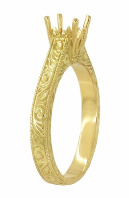Art Deco 1/2 Carat Crown Scrolls Filigree Engagement Ring Setting in 18 Karat Yellow Gold - Item R199PRY50 - Image 2