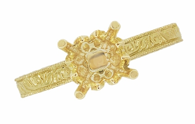 Art Deco 1/2 Carat Crown Scrolls Filigree Engagement Ring Setting in 18 Karat Yellow Gold - Item R199PRY50 - Image 5