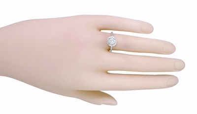 Art Deco 1/2 Carat Diamond Solitaire Illusion Halo Engagement Ring in Platinum - Item R306 - Image 2