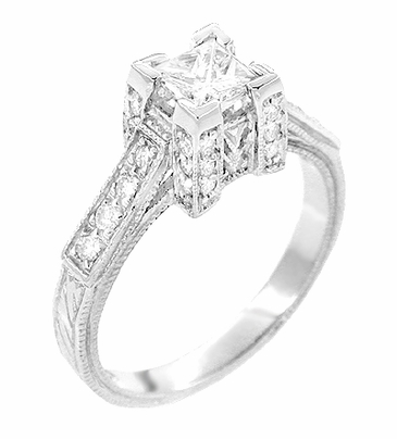 Art Deco 1/2 Carat Princess Cut Diamond Castle Engagement Ring in 18 Karat White Gold - Item R630W - Image 1