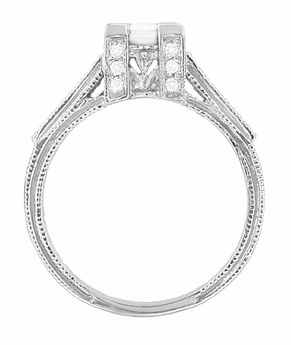 Art Deco 1/2 Carat Princess Cut Diamond Castle Engagement Ring in 18 Karat White Gold - Item R630W - Image 2