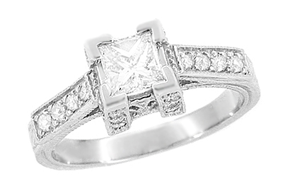 1/2 Carat Princess Cut Diamond Art Deco Castle Engagement Ring in Platinum