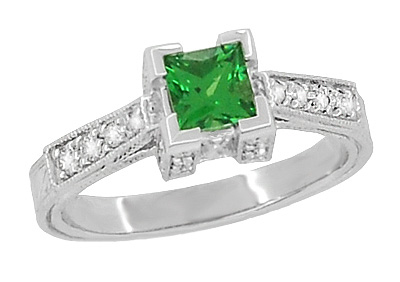 Art Deco 1/2 Carat Princess Cut Tsavorite Garnet and Diamond Engagement Ring in 18 Karat White Gold