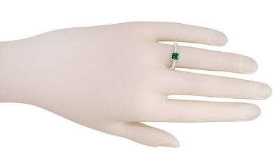 Art Deco 1/2 Carat Princess Cut Tsavorite Garnet and Diamond Engagement Ring in 18 Karat White Gold - Item R661TS - Image 6
