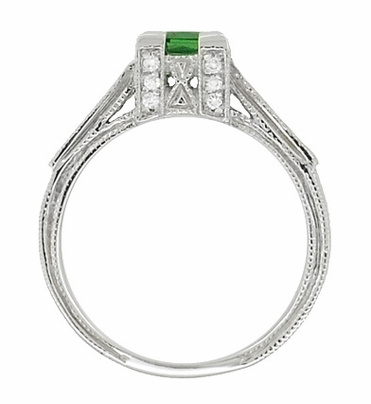 Art Deco 1/2 Carat Princess Cut Tsavorite Garnet and Diamond Engagement Ring in Platinum - Item R239TS - Image 4