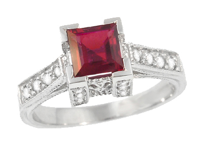 Art Deco 1/2 Carat Square Ruby and Diamond Engagement Ring in 18 Karat White Gold