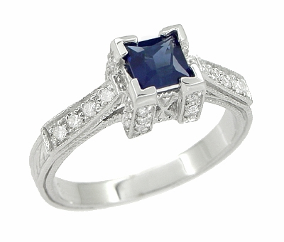 Art Deco 1/2 Carat Square Sapphire and Diamond Engagement Ring in 18K White Gold - Item R661S - Image 1