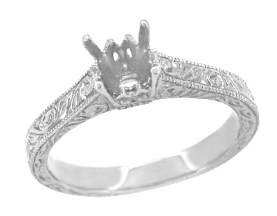 Art Deco 1/3 Carat Crown Scrolls Filigree Engagement Ring Setting in Platinum - Item R199PRP33 - Image 1