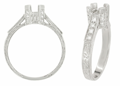 Art Deco 1/3 Carat Diamond Filigree Palladium Engagement Ring Mounting - Item R714PDM - Image 1
