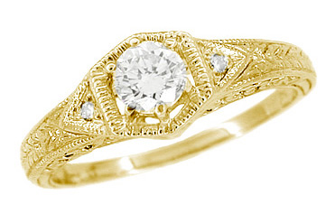 Art Deco 1/3 Carat Diamond Filigree Ring Setting in 18 Karat Yellow Gold