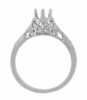 Art Deco 1/4 - 1/3 Carat Crown of Leaves Filigree Engagement Ring Setting in 18 Karat White Gold - Item R299W25 - Image 1