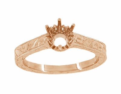 Art Deco 1/4 Carat Crown Filigree Scrolls Engagement Ring Setting in 14 Karat Rose Gold - Item R199R25 - Image 2