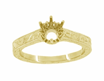 Art Deco 1/4 Carat Crown Filigree Scrolls Engagement Ring Setting in 18 Karat Yellow Gold - Item R199Y25 - Image 2