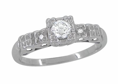 Art Deco 1/4 Carat Diamond Pansy Flowers Fishtail Engagement Ring in 14 Karat White Gold - Item R386D - Image 1