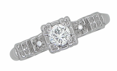 Art Deco 1/4 Carat Diamond Pansy Flowers Fishtail Engagement Ring in 14 Karat White Gold - Item R386D - Image 2