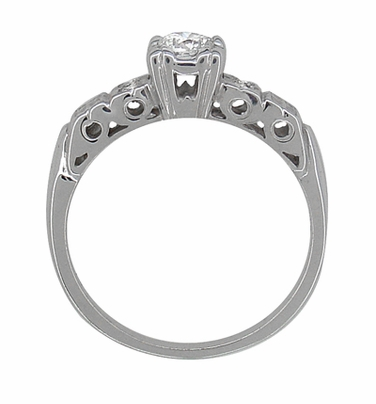 Art Deco 1/4 Carat Diamond Pansy Flowers Fishtail Engagement Ring in 14 Karat White Gold - Item R386D - Image 3