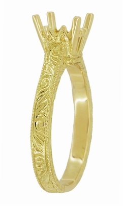 Art Deco 1.50 - 1.75 Carat Crown Filigree Scrolls Engagement Ring Setting in 18 Karat Yellow Gold - Item R199PRY125 - Image 2