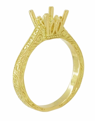 Art Deco 1.50 - 1.75 Carat Crown Filigree Scrolls Engagement Ring Setting in 18 Karat Yellow Gold - Item R199PRY125 - Image 3