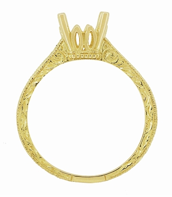 Art Deco 1.50 - 1.75 Carat Crown Filigree Scrolls Engagement Ring Setting in 18 Karat Yellow Gold - Item R199PRY125 - Image 4