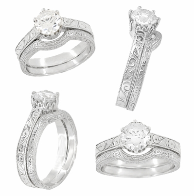 Art Deco 1.50 - 1.75 Carat Crown Filigree Scrolls Engagement Ring Setting in Palladium | Vintage Round Stone Ring Mount  - Item R199PDM150 - Image 4