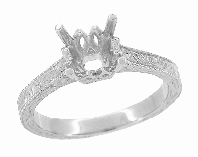 Art Deco 1.50 - 1.75 Carat Filigree Carved Scrolls Castle Engagement Ring Setting in Platinum - Item R199PRP125 - Image 1