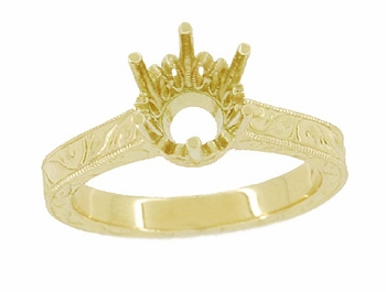 Art Deco 1.50 - 1.75 Carat Filigree Scrolls Crown Engagement Ring Setting in 18K Yellow Gold | Round Semi Mount Vintage Engagement Design - Item R199Y150 - Image 2
