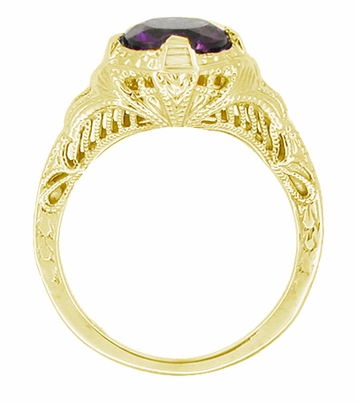 Art Deco 1 Carat Amethyst Engraved Filigree Engagement Ring in 14 Karat Yellow Gold - Item R161YAM - Image 1