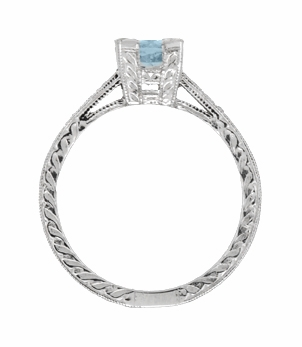 Art Deco 1 Carat Aquamarine and Diamonds Engraved Engagement Ring in Platinum - Item R283P1A - Image 2