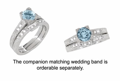 Art Deco 1 Carat Aquamarine and Diamonds Engraved Engagement Ring in Platinum - Item R283P1A - Image 3