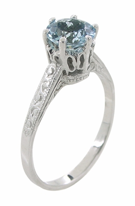 Art Deco 1 Carat Crown Aquamarine Engagement Ring in Platinum - Item R199PA - Image 1