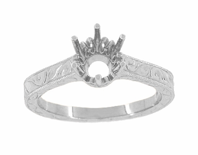 Art Deco 1 Carat Crown Filigree Scrolls Engagement Ring Setting in 18K White Gold | Vintage Inspired 6.5mm Round Stone Mount - Item R199W1 - Image 2