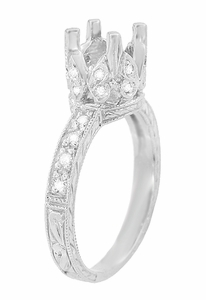 Art Deco Engraved Filigree Loving Butterflies Engagement Ring Setting in Platinum for a 1 Carat Diamond
