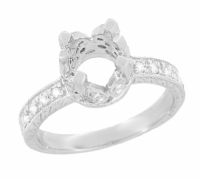 Art Deco Engraved Filigree Loving Butterflies Engagement Ring Setting in Platinum for a 1 Carat Diamond - Item R178P - Image 1
