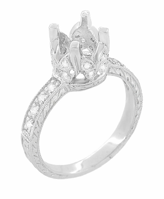 Art Deco 1 Carat Diamond Filigree Engraved Loving Butterfly Engagement Ring Setting in 18 Karat White Gold - Item R178 - Image 2
