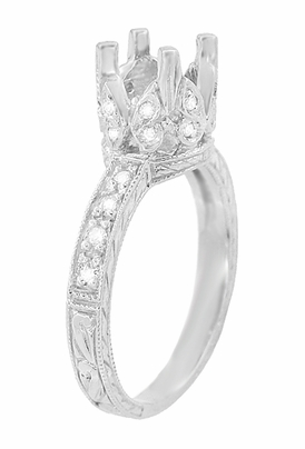Art Deco 1 Carat Diamond Filigree Engraved Loving Butterfly Engagement Ring Setting in 18 Karat White Gold - Item R178 - Image 3