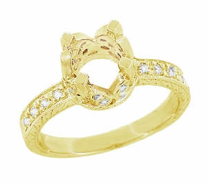 Art Deco 1 Carat Diamond Filigree Loving Butterflies Engraved Engagement Ring Setting in 18 Karat Yellow Gold - Item R178Y - Image 1